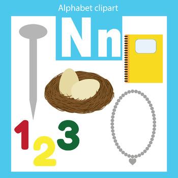 Alphabet clip art letter N Beginning sounds