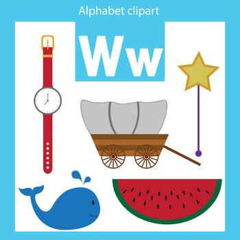 Alphabet clip art letter W Beginning sounds