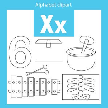 Alphabet clip art letter X Beginning sounds