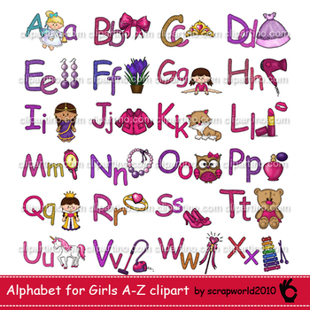 Alphabet for girls, clipart,glitter letters + card Bundle