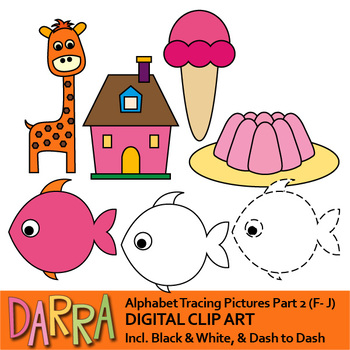 Alphabet clipart for trace the pictures - part 2 (F, G, H, I, J)