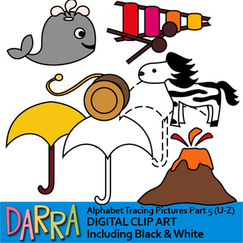 Alphabet clipart for trace the pictures - part 5 (U, V, W, X, Y, Z)