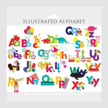 Alphabet clipart - illustrated alphabet, teaching clip art, letters, ABCs