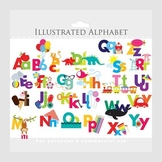 Alphabet clipart - illustrated alphabet, teaching clip art