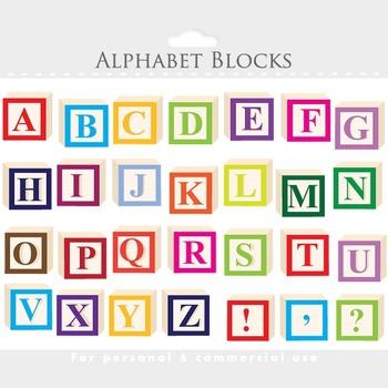 Alphabet clipart - letter blocks clip art, wooden blocks, alphabet, abc, teacher