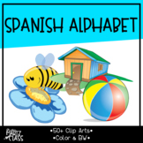 Alphabet cliparts color and blacklines (SPANISH)