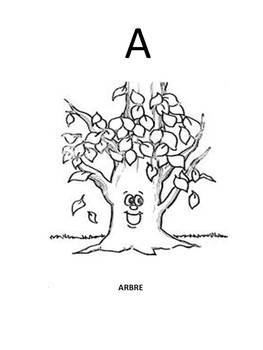 Alphabet coloring pages using French words