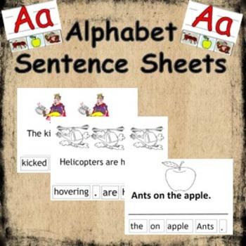 Alphabet cut and paste sheets