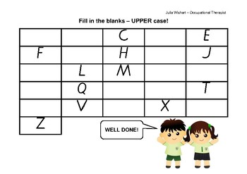 Alphabet fill in the blank - Victorian modern cursive UPPER CASE