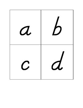 Alphabet flashcards-lowercase-dnealian font