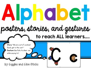 Alphabet for All Learners! Posters, Stories, and Gestures for each Letter!