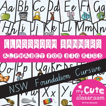 Alphabet For Big Kids Banner NSW Cursive Font