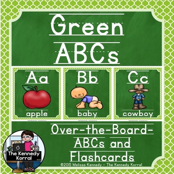 Alphabet Picture Cards & Flashcards {Green}