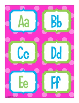 Alphabet for Word Wall or Flash Cards - Pink Polka Dots