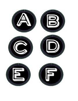 Alphabet for word wall (black, teal, purple, white)