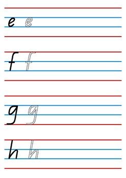 Alphabet handwriting worksheet - QLD beginner's font
