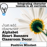 Alphabet heart bunting pennant banner color & b/w classroo