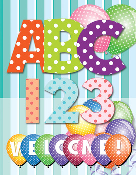 Alphabet in Polka Dots - Two Alphabets - Pastels and Brigh