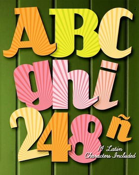 """Alphabet in Radial Flares - Fall Pastels - 91 Files - 6"""" High - 14 Latin Letters"""