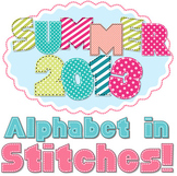 Alphabet in Summer Colors with Stitches and Patterns - Upper- and Lowercase