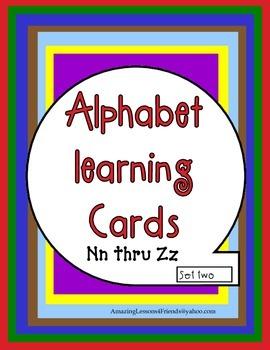 Alphabet learning Cards Nn Thur Zz