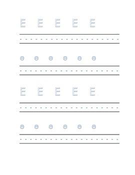 Alphabet letter E Writing Kindergarten