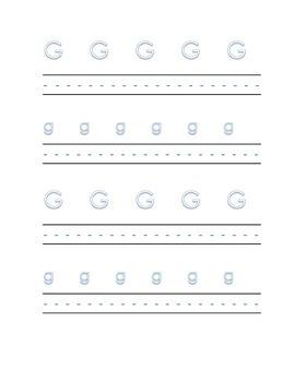Alphabet letter G Writing Kindergarten