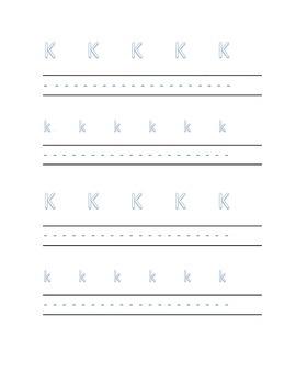Alphabet letter K Writing Kindergarten