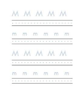 Alphabet letter M Writing Kindergarten
