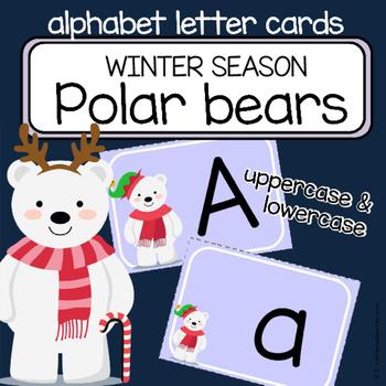 Alphabet letter cards - Polar bears - CHRISTMAS / WINTER -