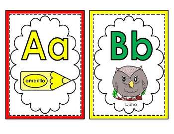 Alphabet letter cards (all 30 Spanish letters only/colored) for wall
