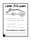 Alphabet letter & digraph journal - poem, sentence writing