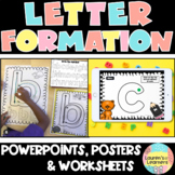 Letter formation rhymes animated Powerpoint with posters and writing worksheets