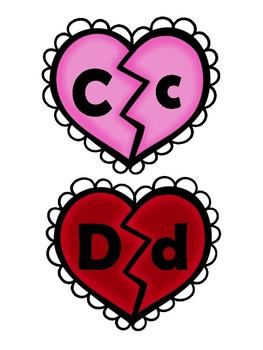 Alphabet letter matching heart/Valentine activity