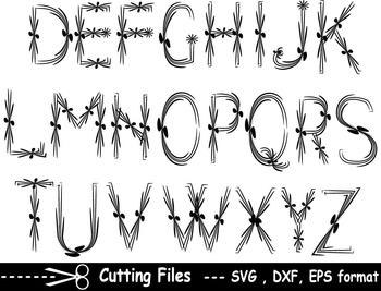 Alphabet letter numbers EPS SVG DXF school teachers Logo monogram cutting abc 8S