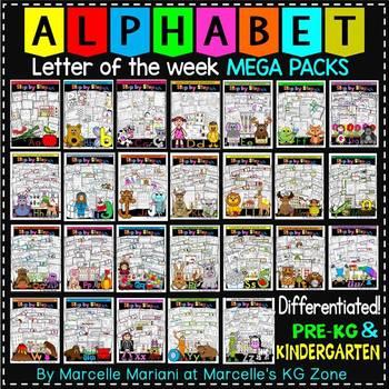 Letter of the week Alphabet worksheets MEGA PACKS A-Z BUNDLE