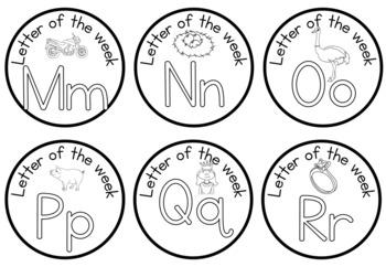 Alphabet -beginning sound - letter of the week badges