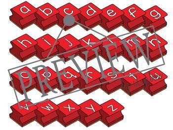 Alphabet letter stamps - Red set