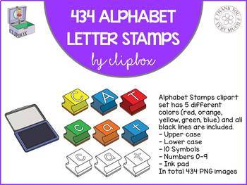 Alphabet letter stamps clip art - The Whole set