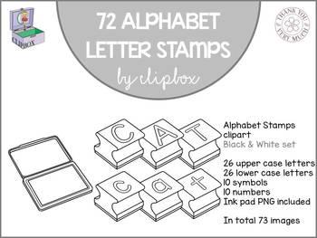 Alphabet letter stamps clip art - Black & white set