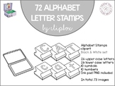 Alphabet letter stamps clip art - Black & white set