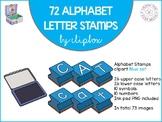 Alphabet letter stamps clip art - Blue set