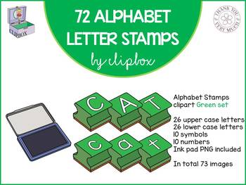 Alphabet letter stamps clip art - Green set