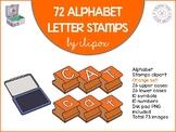 Alphabet letter stamps clip art - Orange set