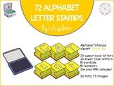Alphabet letter stamps clip art - Yellow set
