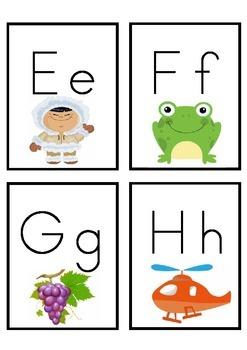 Alphabet letter/picture flashcards x4