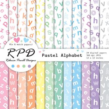 Alphabet letters ABC pattern pastel & white digital paper set/ backgrounds