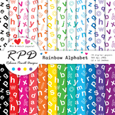 Alphabet letters ABC pattern rainbow & white digital paper set/ backgrounds