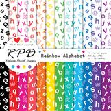 Alphabet letters ABC pattern rainbow & white digital paper