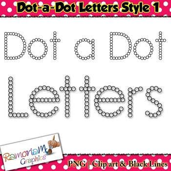 Alphabet letters: dot a dot font clip art